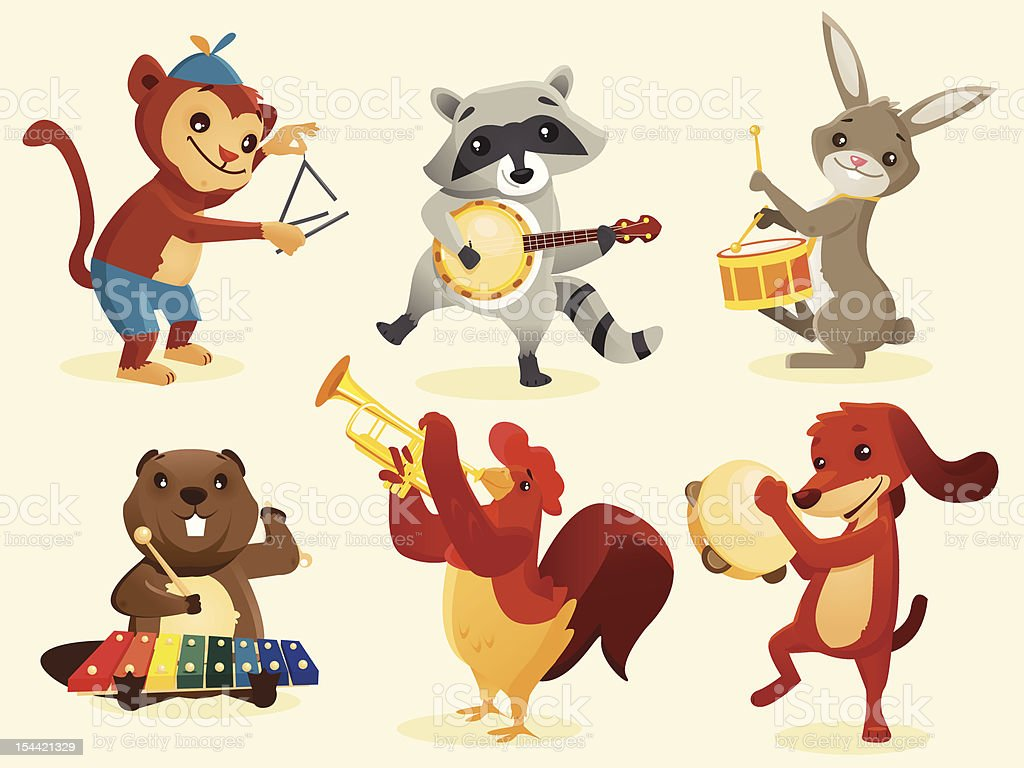 Animals playing intruments royalty-free stock vector art