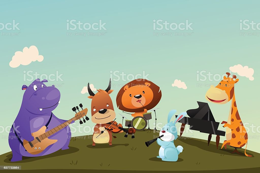 Animals Playing Music Instrument in a Band vector art illustration