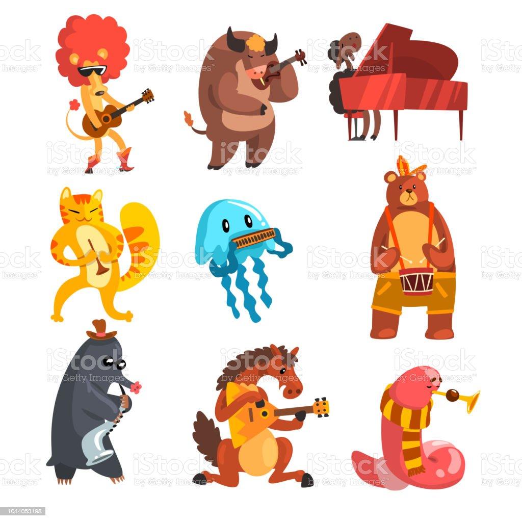 Tiere Spielen Musikinstrumente Set Löwe Kuh Schaf Quallen Katze ...
