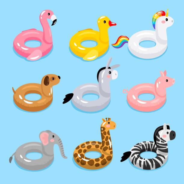 bildbanksillustrationer, clip art samt tecknat material och ikoner med djur pool float ringar - inflatable ring
