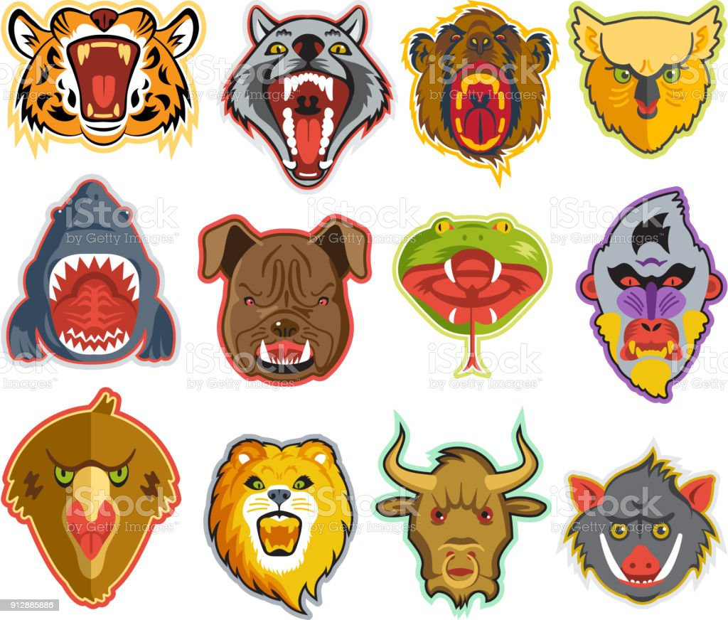 Animals portrait vector heads with open mouth of roaring animals angry lion bear and aggressive wolf illustration set of animalistic beast with teeth isolated on white background векторная иллюстрация