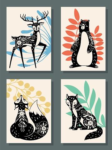 Animals posters. Scandinavian style modern forest fox, bear and wolf, deer. Scandi, finnish folk floral nordic patterns vector set