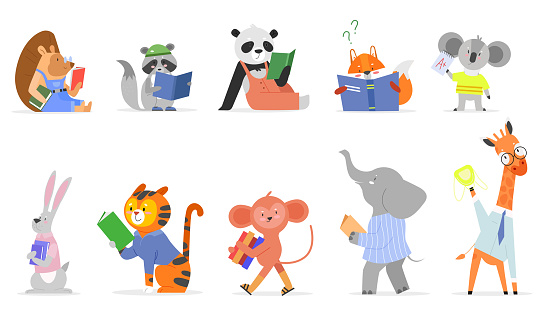 Animals read, study vector illustration set, cartoon flat smart animal kid studying, reading textbook or story book in school isolated on white