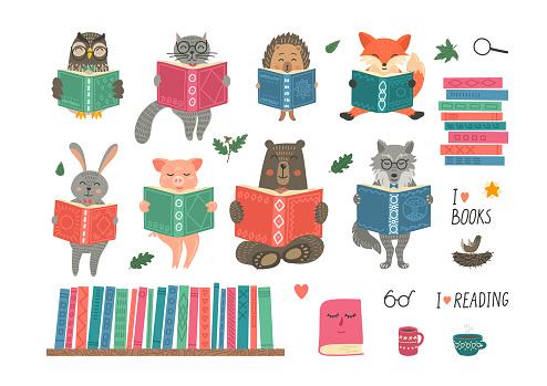Animals reading book.