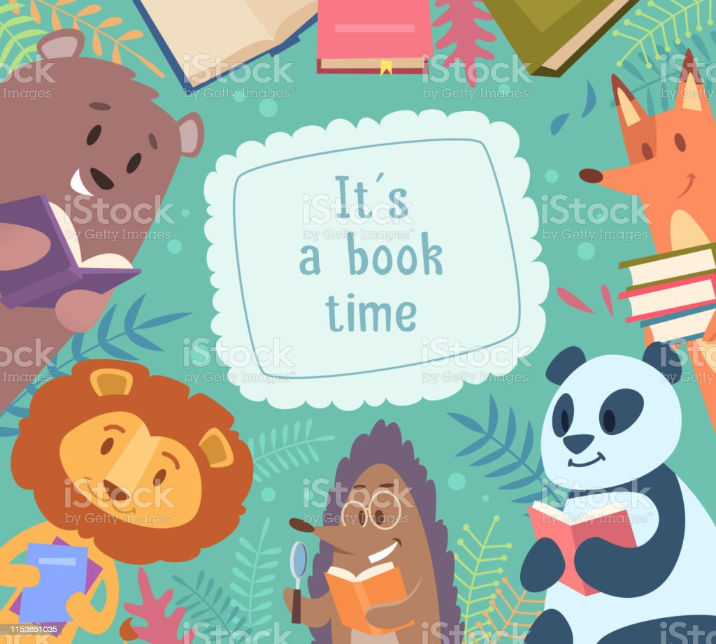 Animals reading books. Back to school background frame with funny...