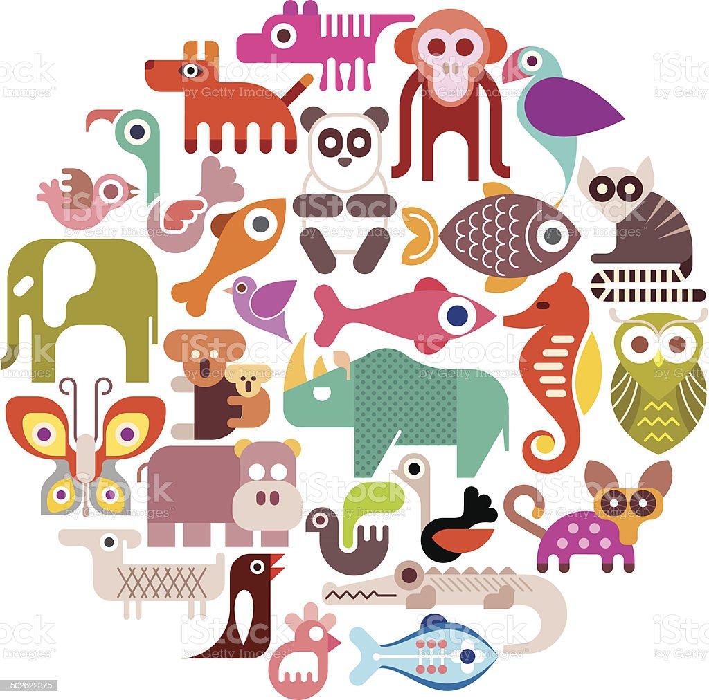 Animals round vector illustration vector art illustration