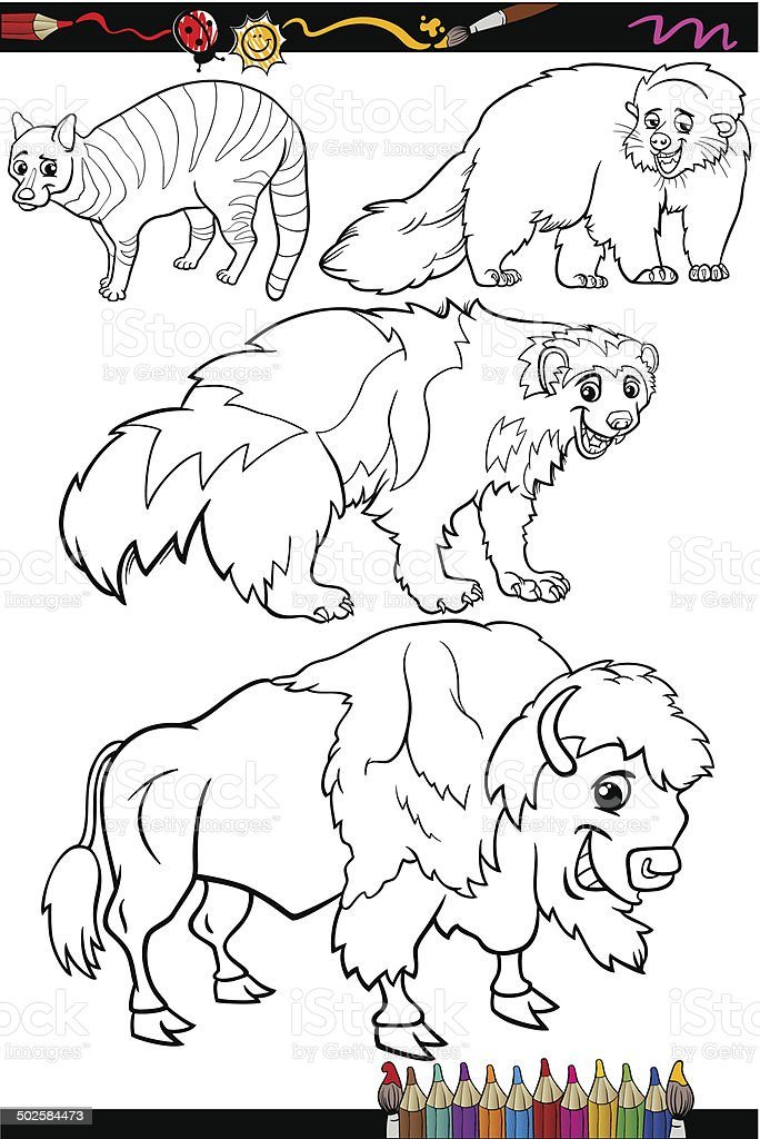 Application Coloriage Dessin Anime.Ensemble Dessin Anime Livre De Coloriage Animaux Vecteurs