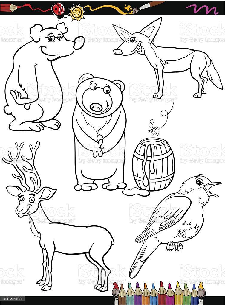 Ilustración de Conjunto De Dibujos Animados Animales Para Colorear ...