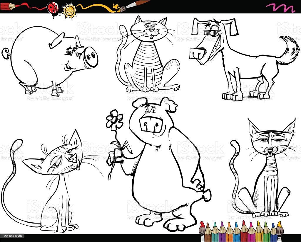 Ilustración De Conjunto De Dibujos Animados Animales Para Colorear