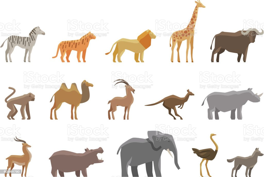 Animals. Set colored vector icons and symbols - Illustration vectorielle