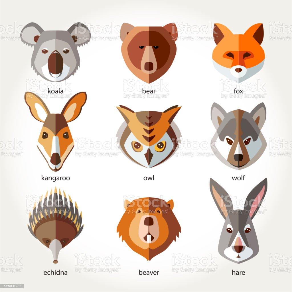 Animals set icon head muzzles koala bear fox kangaroo owl wolf echidna beaver rabbit hare vector art illustration
