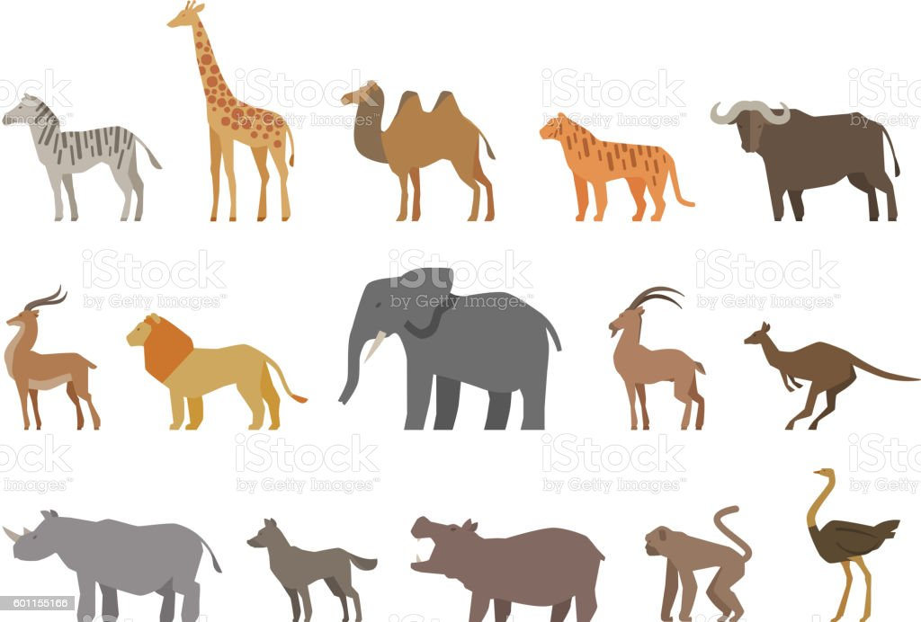 Animals set of colored icons isolated on white background. Vector vector art illustration