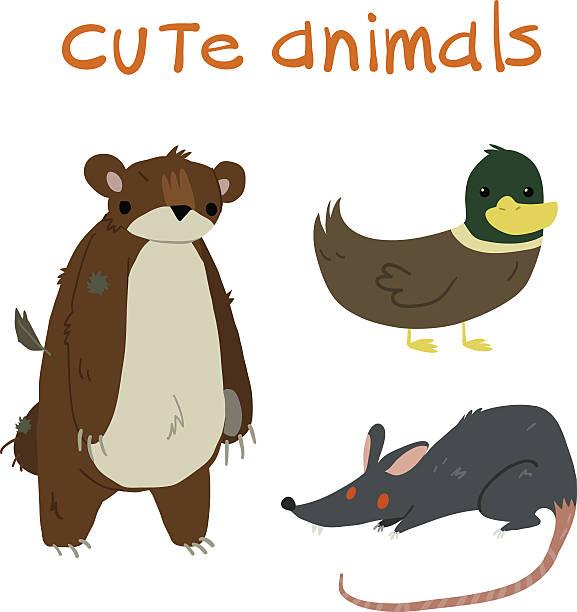 Animals set. Teddy bear duck rat flat icon mascot. vector art illustration