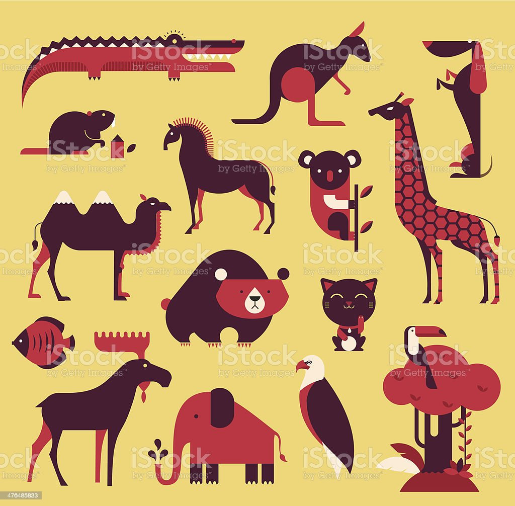 animals set vector art illustration