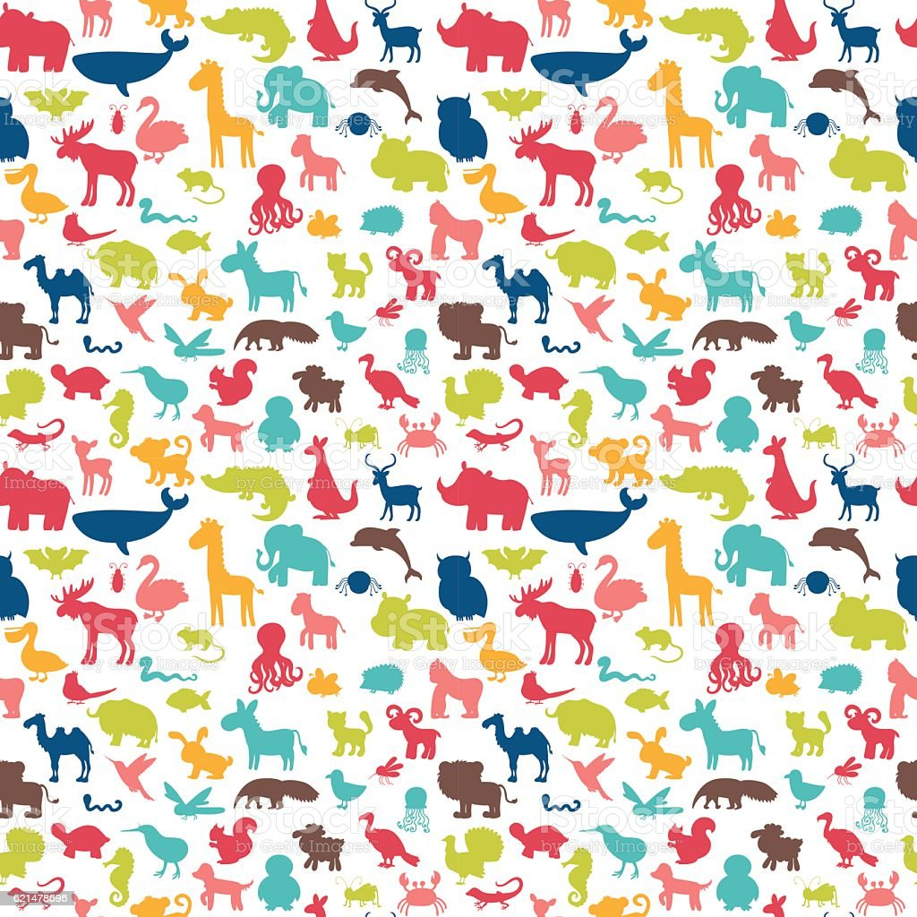 Animals Silhouettes Seamless Pattern Cute Background Stock