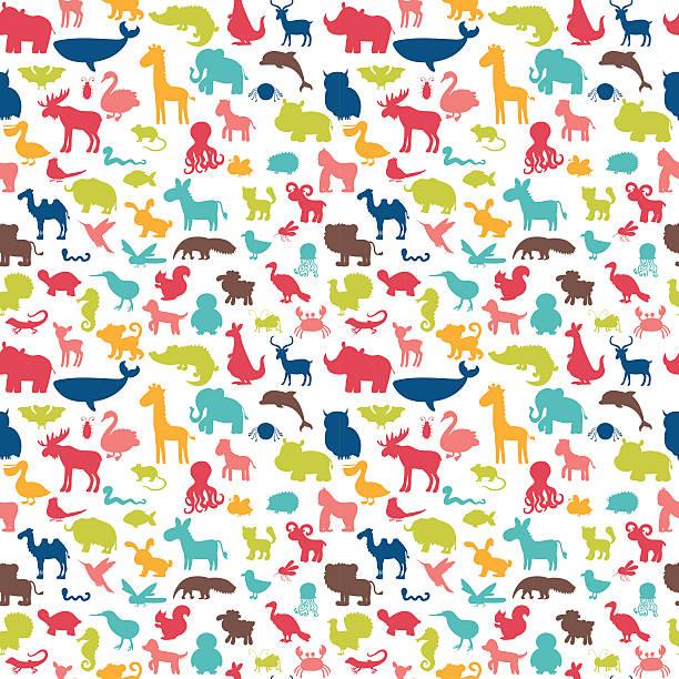 animals silhouettes seamless pattern. cute background - 動物点のイラスト素材/クリップアート素材/マンガ素材/アイコン素材