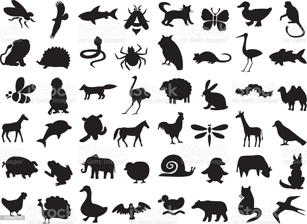 animals silhouettes set vector art illustration