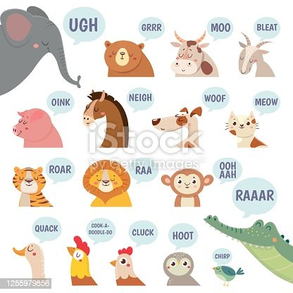 istock Animals sounds. Cute animal making sounds cat and dog, sheep and cow, pig and hen, horse and lion, bear and monkey cartoon vector set 1255979856