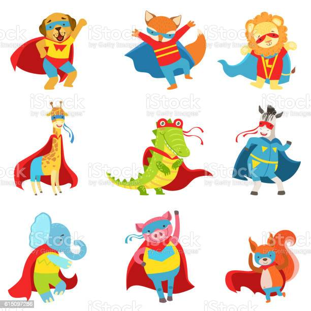 Animals superheroes with capes and masks set vector id615097286?b=1&k=6&m=615097286&s=612x612&h=fwzf8dboz40g hdrx5qiruccaadz 2rm9i3v4nu1scw=