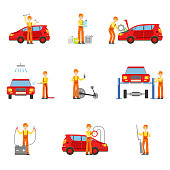 Car Repair Workshop Services Set Of Illustrations. Mechanic At Work In The Garage Bright Color Simplified Cartoon Style Drawings On White Background.