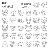 Animals thin line icon set, Wild nature collection, vector sketches, logo illustrations, web symbols, linear pictograms package isolated on white background, eps 10