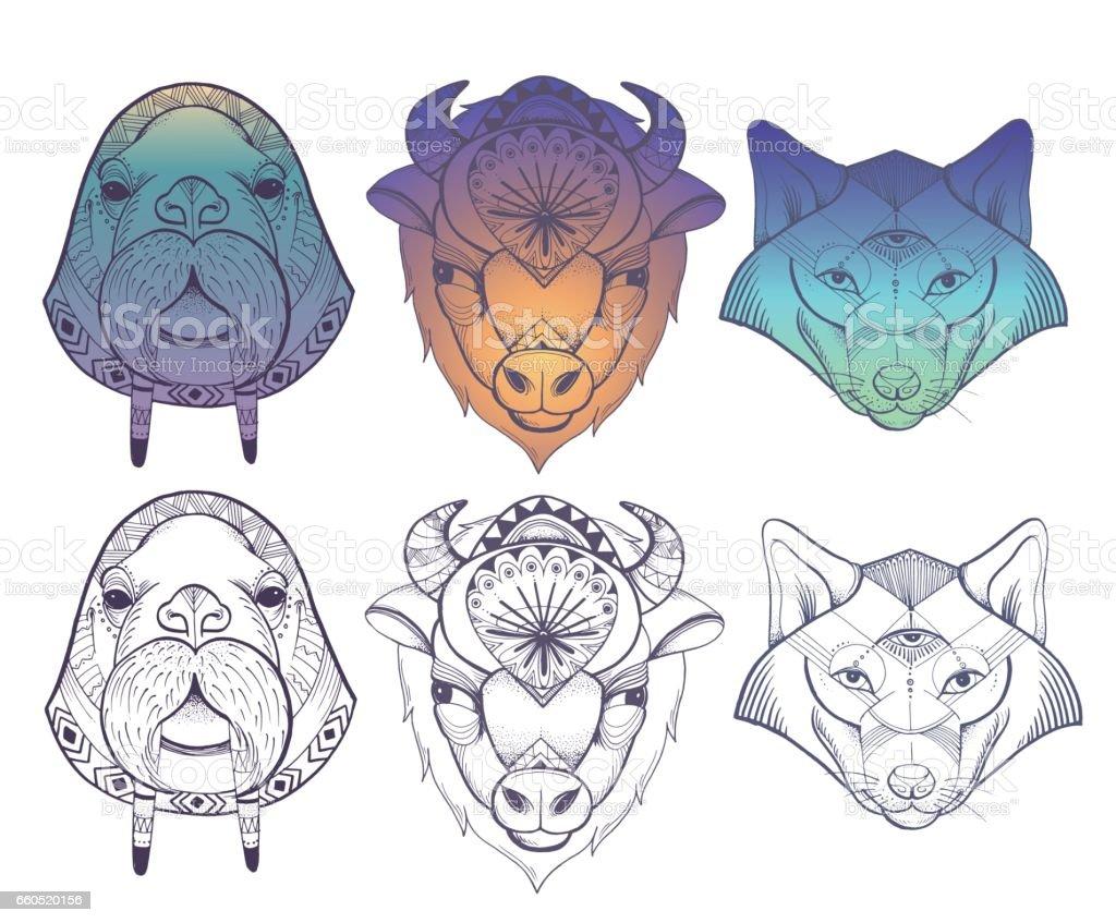 Animals totems: vector wolf, buffalo and walrus vector art illustration