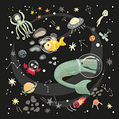 Animals travel in space, underwater world in outer space.  Doodle in cartoon style, Vector for design t-shirts, cards and posters. Humor concept. Children textile.