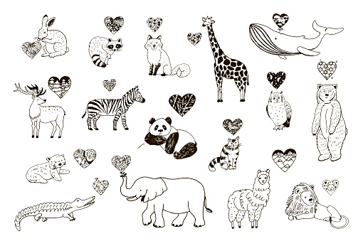 Animals Valentines day illustrations set