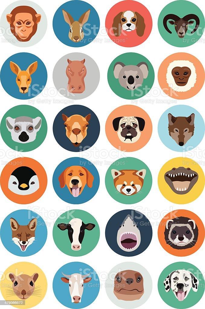Animals Vector Flat Icons 2 vector art illustration