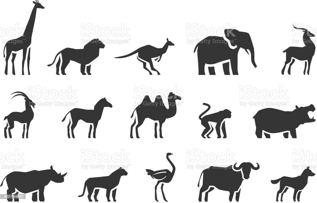 Animals vector icons set vector art illustration