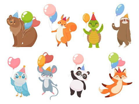 Animals with balloons, greeting party celebration birthday