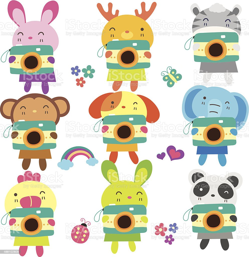 Animals with camera set 1 royalty-free stock vector art