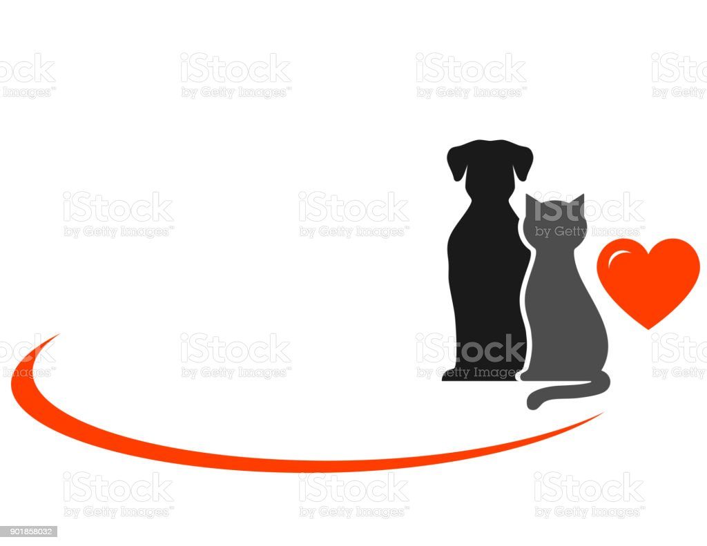 animals with heart vector art illustration