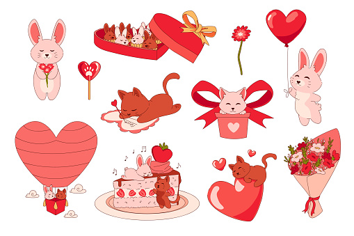 Animals with hearts. Cartoon romantic stickers. Cute bunny giving balloon and kitten signing greeting card. Holiday cake and bouquet of flowers. Presents or box with candies, vector set