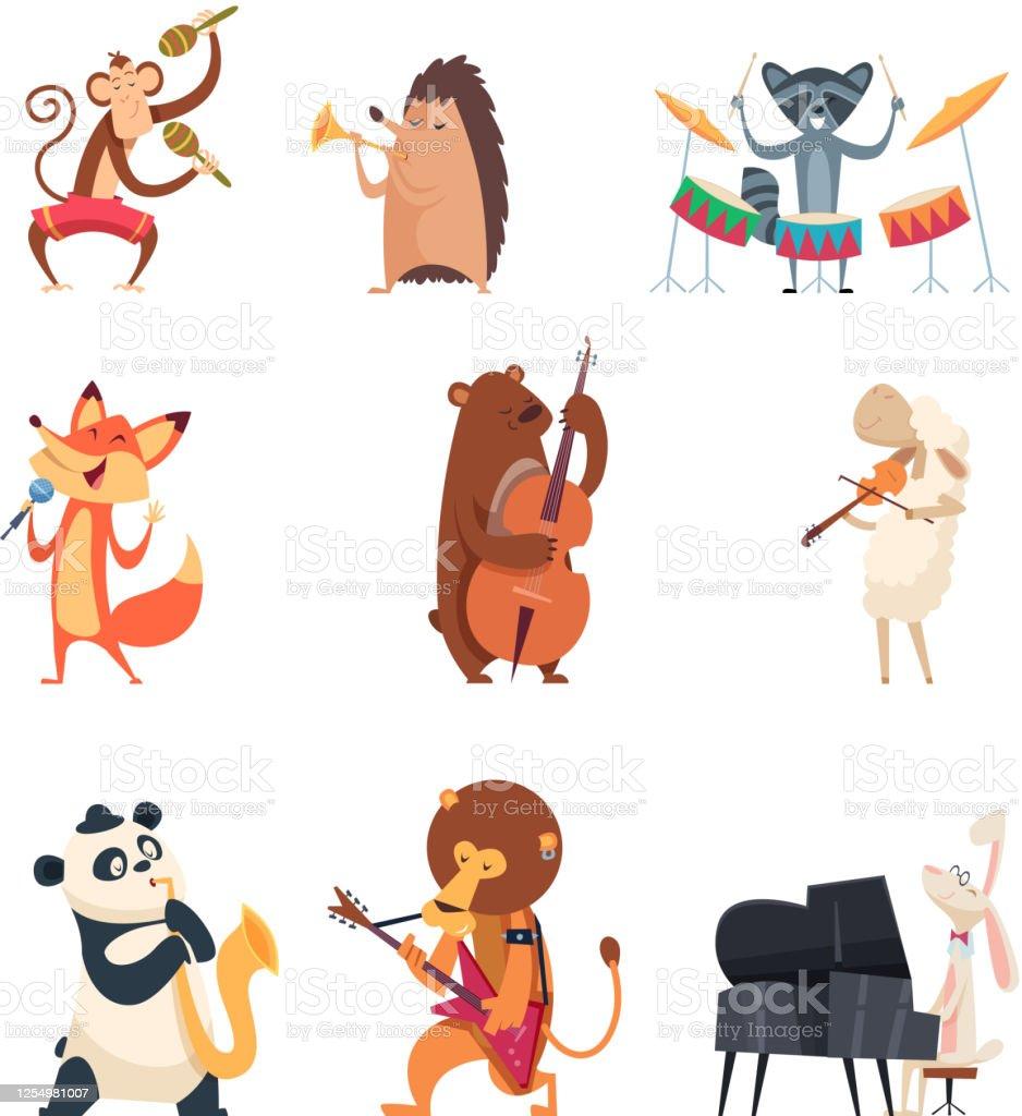 楽器を持つ動物動物園のミュージシャンはかわいい声楽曲バンドベクトル漫画のキャラクターをエンターテイメント アイコンセットのベクターアート素材や画像を多数ご用意 Istock