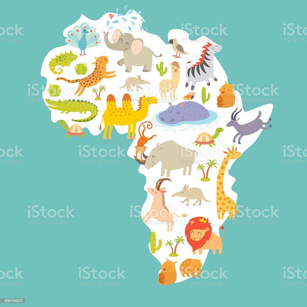 Carte Du Monde Des Animaux En Afrique Illustration De