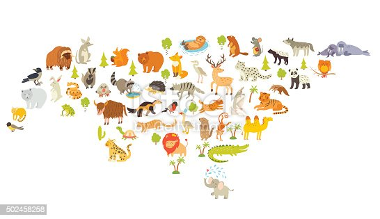 Animals world map, Eurasia. Colorful cartoon vector illustration for children and kids. Preschool, education, baby, continents, oceans, drawn, Earth