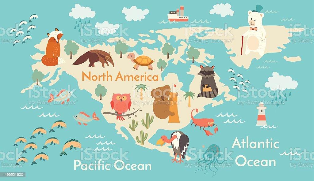 Preschool World Map.Animals World Map North America Vector Illustration Stock Vector Art