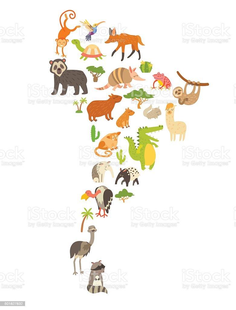 動物ワールドマップsourth アメリカますカラフルなカットイラスト