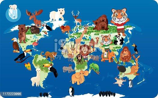 Vector Animals World Map