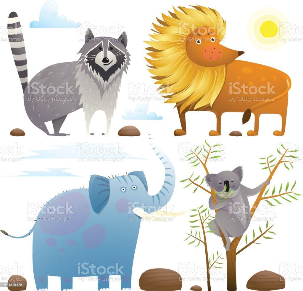 Animals zoo clip art collection lion elephant raccoon koala design set vector art illustration