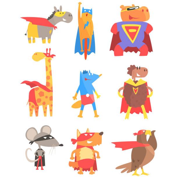 animas dressed as superheroes set of geometric style stickers - giraffenkostüm stock-grafiken, -clipart, -cartoons und -symbole