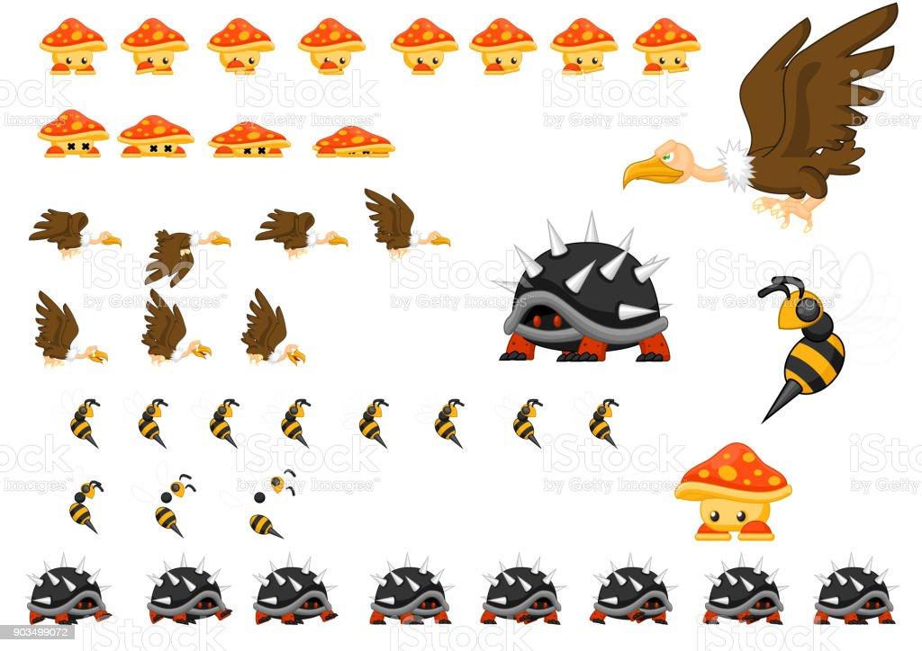 Animated Animal Set vector art illustration