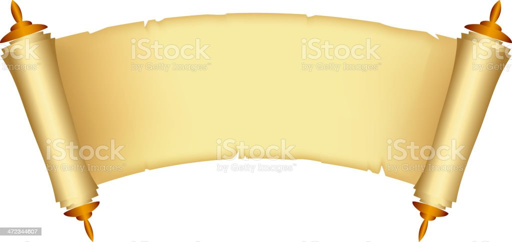 Animated blank aged scroll of the law vector art illustration