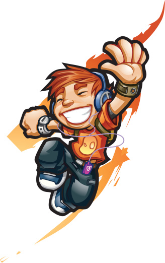 Animated boy jamming out with headphones symbolizing freedom