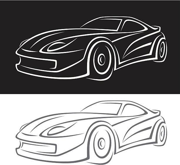 bildbanksillustrationer, clip art samt tecknat material och ikoner med animated car black on top and white on bottom - wheel black background