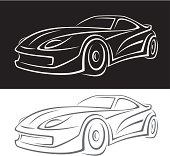 Animated car black on top and white on bottom
