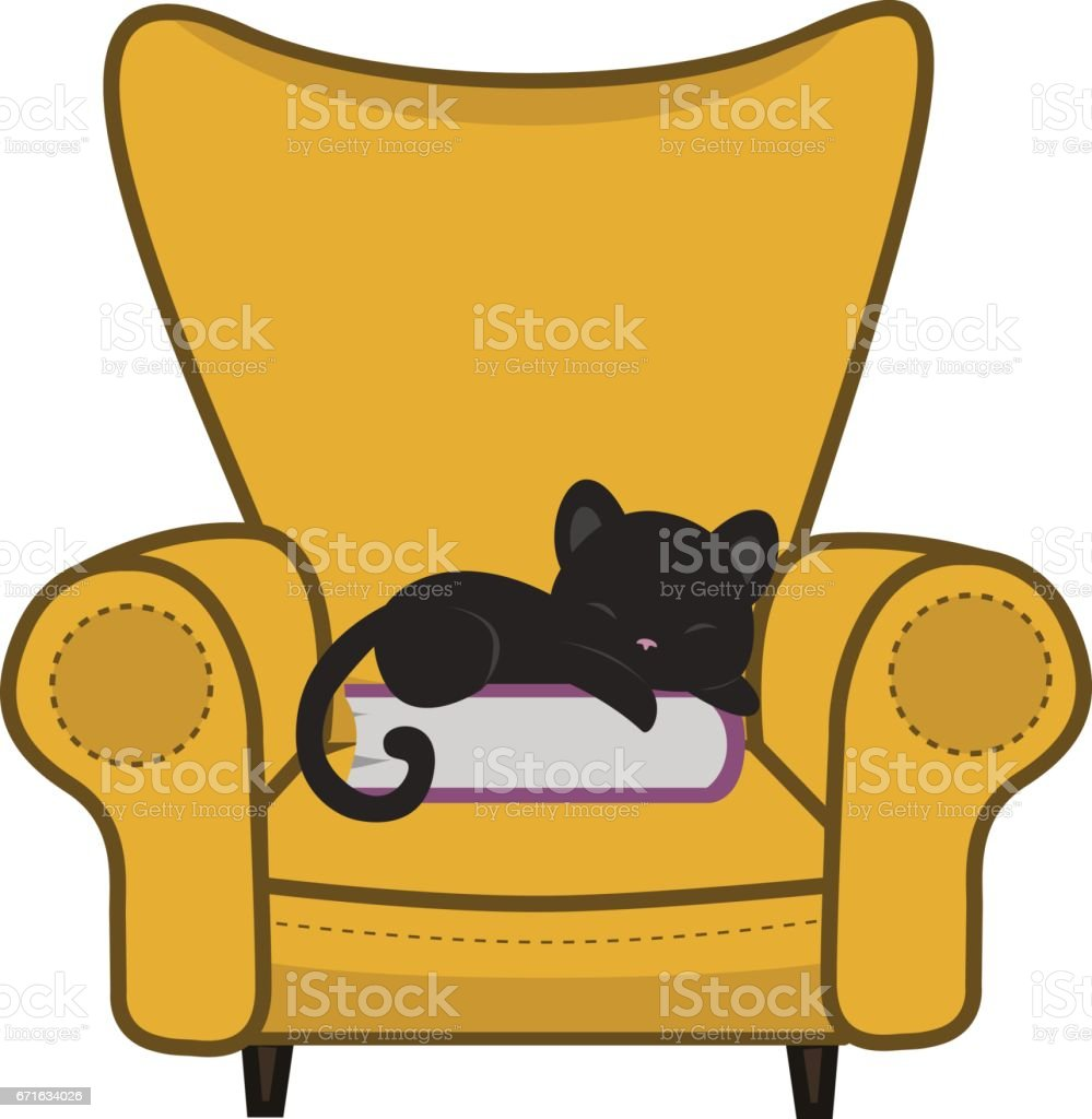 Magnificent Animated Cartoon Cute Cat Sleeping In Comfortable Armchair Bralicious Painted Fabric Chair Ideas Braliciousco