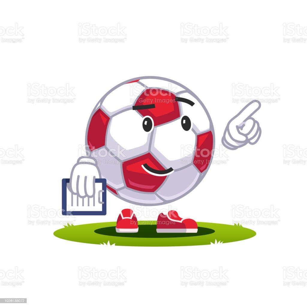 Personagem de emoticon do emoticon de bola de futebol desenho animado.  Treinador com o dedo 3ba9cadd25a4d