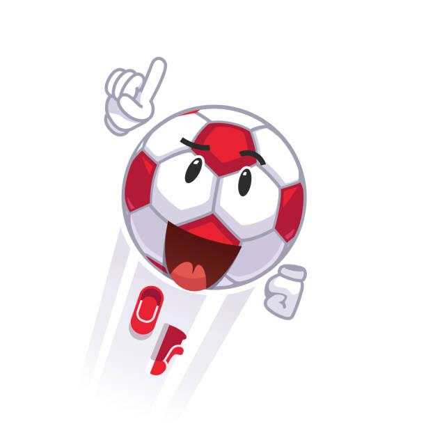 ilustrações de stock, clip art, desenhos animados e ícones de animated cartoon soccer ball emoticon smiley character. flying football fan superhero face concept. flat style vector clipart - soccer supporter portrait